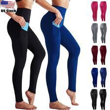 1-3 Packs Womens High Waist Gym Pocket Fitness Sports Running Leggings Pants