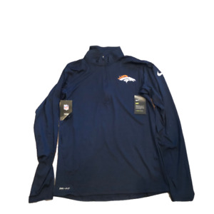 NWT New Denver Broncos Nike Dri-Fit Navy 1/2 Zip Element Small Jacket