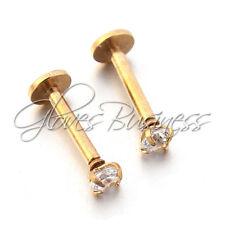 """2pcs Gold Cz Labret Lip Ring Lip Piercing Jewelry Lip Stud 16G 5/16"""" 8mm Pin"""