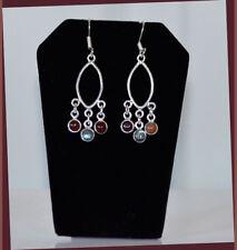 Metal Garnet and Moon Stone Chandelier Hook Earrings Fashion Jewelry Silver Tone