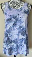 NWT - RELATIVITY blue & white paisley print sleeveless pullover top, Size S