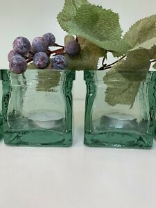 Set Of 4 Recycled Thick Green Glass Votive Holders Made In Spain  Beautiful!!
