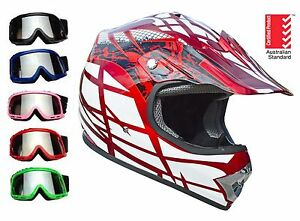Kids Dirt Bike Helmet RED with goggles Youth Child Motocross Quad ATV PEEWEE
