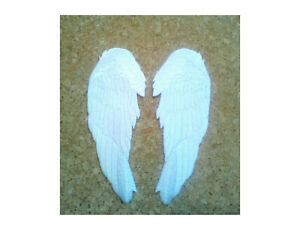 Angel Wings - White - Baptisms - Baby - Embroidered Iron On Patch - Crafts