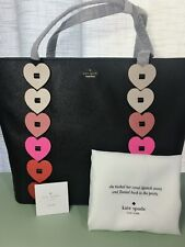 5642ba25e NWT Kate Spade Yours Truly Ombre Valentines Heart Black Leather Tote  PXRU8343