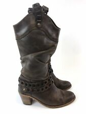 Fly London Brown Leather Mid Calf Pull On Slouch Cowboy Distressed Boots 38 UK5