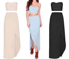 Ladies Summer Co Ord Set Bandeau Wrap Front Crop Top Maxi Skirt Blouse 6-14