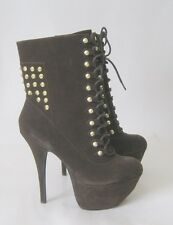 """new Brown Silver Stud 5.5""""High Heel 2.5""""Platform Sexy Ankle Boots Size 7.5"""