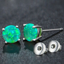 Solid Silver Classical Round Cut Emerald Green Fire Opal Stud Earrings