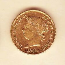 SPANISH Philippines SPAIN ISABEL ll 4 pesos 1868 GOLD coin, AU/UNC good Luster