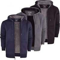 Mens Soft Fleece Lined Hooded Jumper Sweatshirt Zip Through Up Plain Coat Jacket