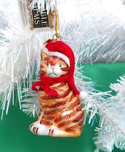 Kurt Adler Noble Gems Glass Christmas Tree Decoration  GINGER STRIPED TABBY CAT