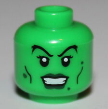 Lego Green Minifig Head Dark Green Lips Warts Witch