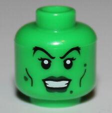 LeGo Green Minifig Head Dark Green Lips Warts Witch