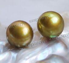 11-12mm Chocolate Akoya Cultured Pearl Silver Stud Earrings AAA+