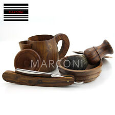Classic Vintage style hand made wooden shaving set Razor Badger hair bowl Mug