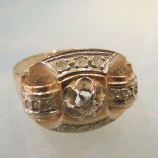 ancienne bague tank art deco or massif 18 carats poincon ornée d'un diamant