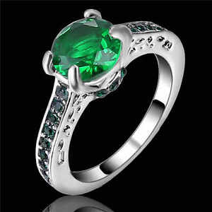Hot Fashion Classic Lady's Green(Emerald)white 10kt gold filled Wedding Ring Sz6