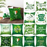 Happy St. Patricks Day Pillow Case Throw Cushion Cover Spring Home Decoration