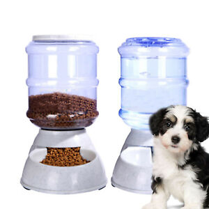 2X 3.5L Large Automatic Pet Food Drink Dispenser Dog Cat Feeder Water Bowl Dish