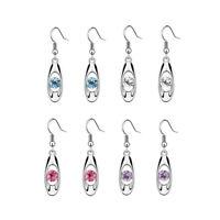Fashion Women Alloy Earrings Crystal Water Drop Dangle Ear Studs Charm Jewel&+