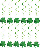 Set 12 Irish St Patricks Day Shamrock Hanging PVC & Paper Swirl Decorations QR34