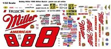 #8 Bobby Hillin jr. Miller Buick 1986 1/32nd Scale Slot Car Waterslide Decals