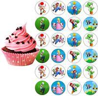 Super Mario Luigi Eßbar Tortenbild Party Deko Muffinaufleger Cupcake neu Yoshi
