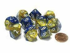 Chessex Dice Sets:Gemini Blue&Gold with White-Ten Sided Die d10 Set10 CHX 26222