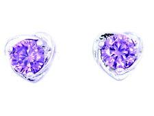 Silver tone purple crystal in heart shape outline stud earrings
