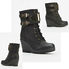 NEW WOMENS LADIES WEDGE HEEL SIDE ZIP LACE UP BUCKLE DESIGNER ANKLE BOOTS  SIZE