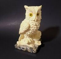 Amilcare Santini sculptor classic figure great  owl on marble base vintage Italy