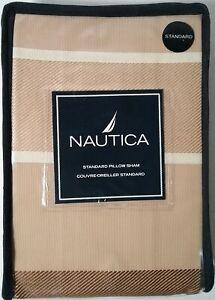 NAUTICA Pemberton Standard PILLOW SHAM Tan Brown Cream Grosgrain Ribbon