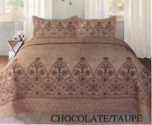 FLOWERS CHOCOLATE/TAUPE EMBROIDERED BEDSPREAD COVERLET SET 3 PCS QUEEN SIZE