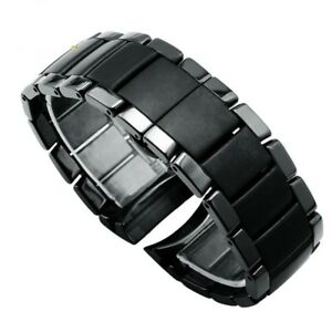 Ceramic Watchband Matt Watch Black Strap Wristwatches Band Butterfly Buckle New