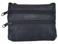 Genuine Leather Black Small Coin Wallet Change Purse Zipper Key Pockets Black