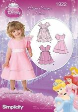 Simplicity #1922 Toddlers Girls Disney Princess Dress Sewing Pattern Size 1/2-4