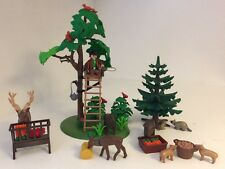 Playmobil 4208 Forest Rangers Post With Wildlife Animals Trees Food