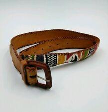 Southwest Design Leather Belt Handmade Sz 30 No brand distressed