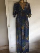 Gorgeous Long Blue Dress w Intricate Design Orange Green White Shirred Waist XL