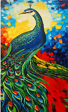 Hand-painted knife oil painting Art on canvas No frame Background peacock 0120