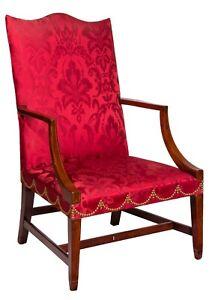 SWC-A Federal Inlaid Mahogany Lolling Chair, MA, c.1800
