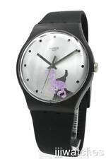 New Swatch Originals Gent PINKOSAURE Matte Black Silicone Watch 43mm SUOB139 $80