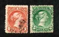 Canada - Unitrade# 22 & 24 Used (few short perfs)    -    Lot 0121111