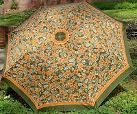 Vintage 60s Retro Floral Umbrella Unique Festival Parasol Compact Green & Orange
