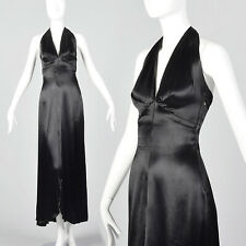XXS 1930s Black Liquid Satin Halter Dress Backless Evening Gown Old Hollywood