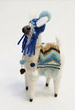 Felt Standing Sparkly Llama Decoration With Knitted Hat And Pom Details
