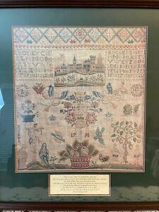 Framed Print of 1798 Denmark Linen Sampler - Reproduction