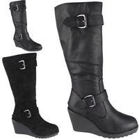 Ladies Mid Calf High Boots Buckle Casual Work Zip Wedge Heel Shoes