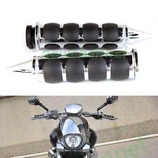 Chrome Custom Motorcycle Spike 1'' Hand Grips Handle Bar End For Harley Yamaha